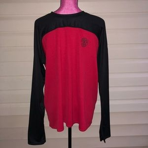 Vintage Gold's Gym Red Black Long Sleeve Shirt